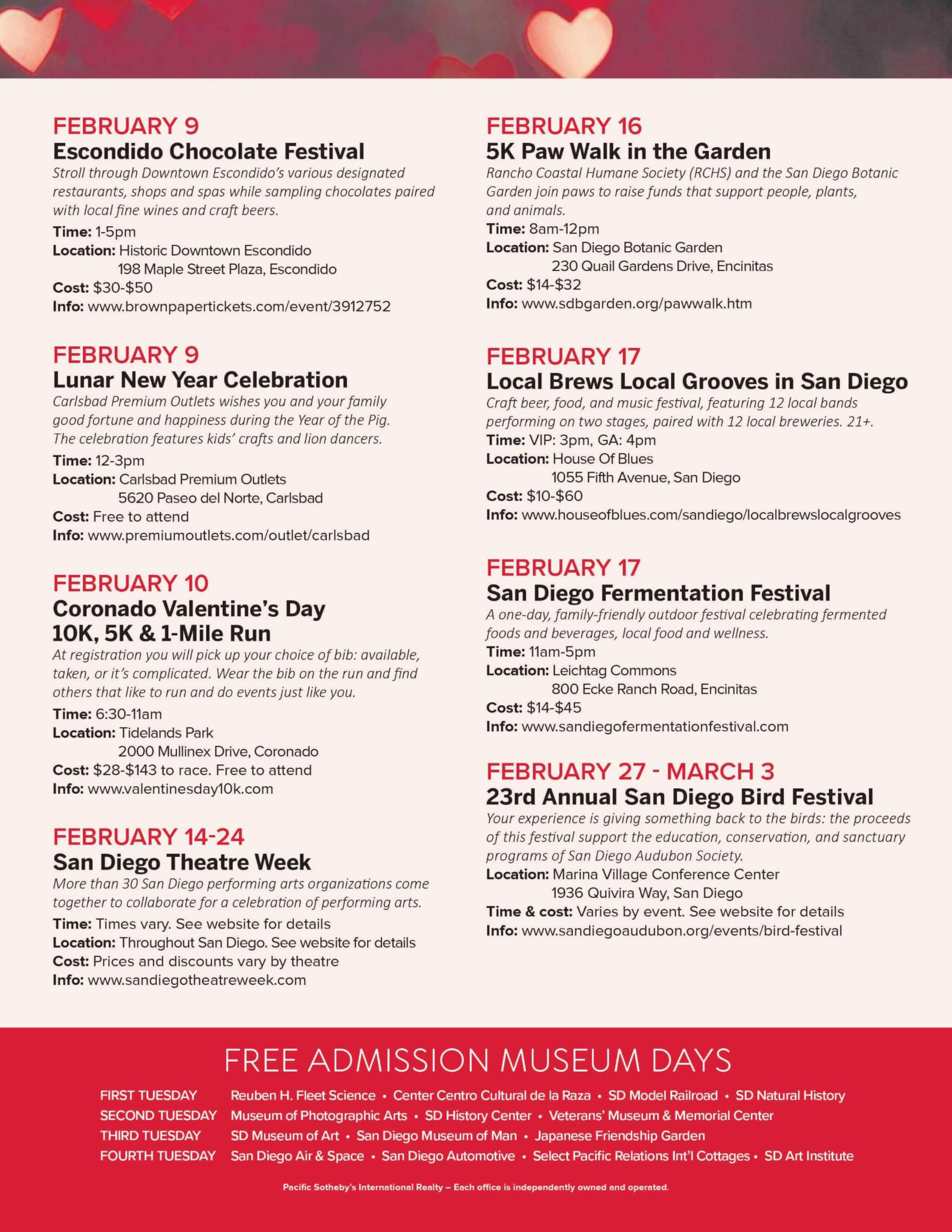San Diego Calendar Of Events February 2019 San Diego Events Calendar – February 2019 – Dean Team